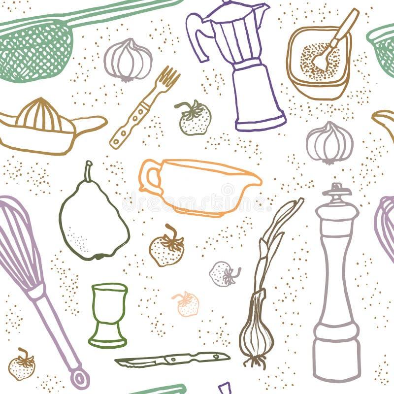 Viele nahtlosen Musters der Küchenausrüstung stock abbildung
