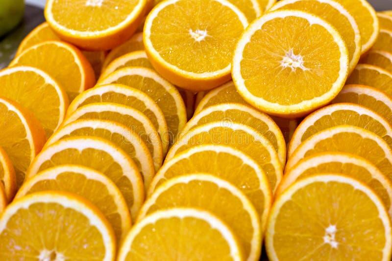 Viele Orangenscheiben Frisch, reif und saftig stockfoto