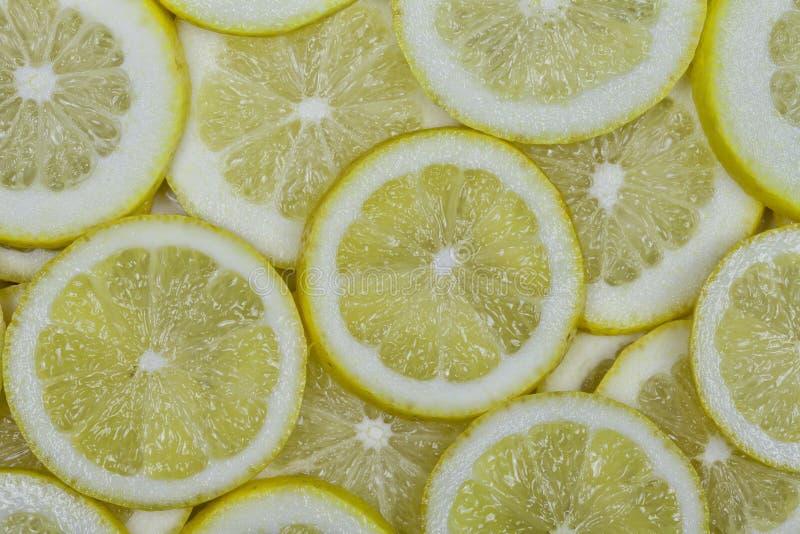 Viele organische Zitronen schnitten in Scheiben lizenzfreie stockbilder