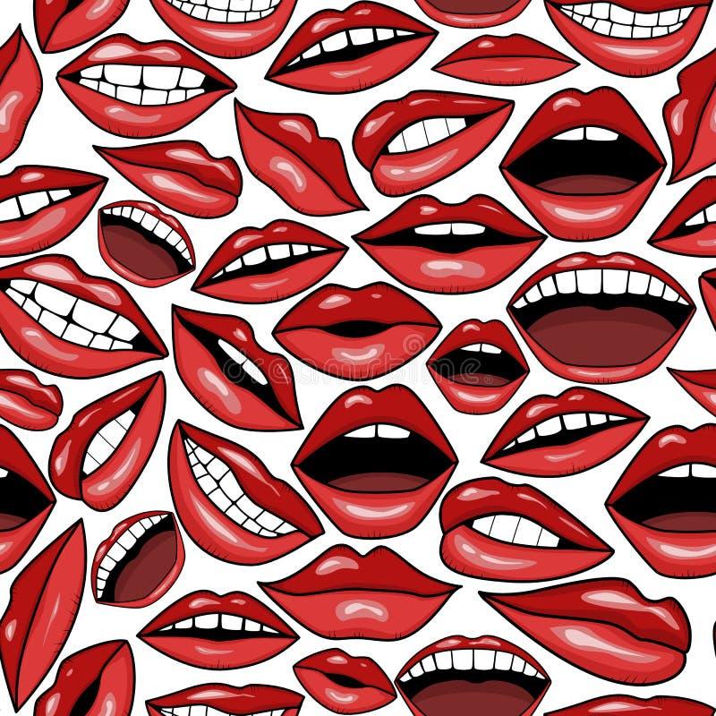 Viele roten Lippen in der Tätowierungsart vector nahtlosen Hintergrund lizenzfreie stockfotografie