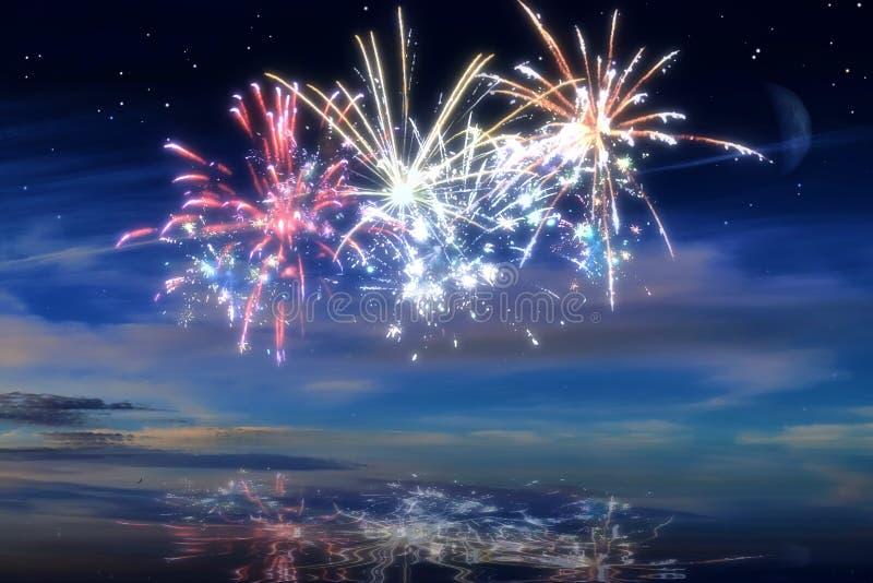 Viele schöne bunte Feuerwerke vor einem nächtlichen Himmel stockfotografie
