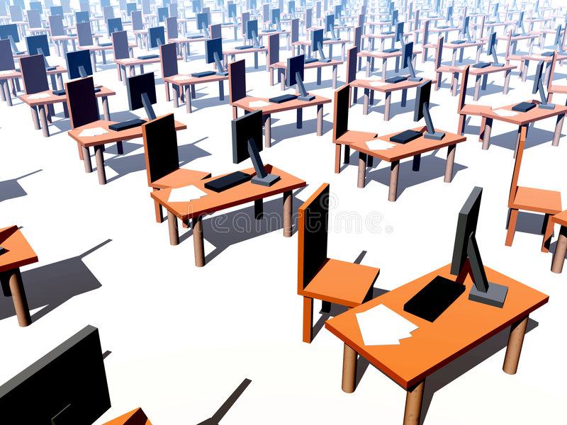 Viele Schreibtische mit Stühlen 1 stock abbildung