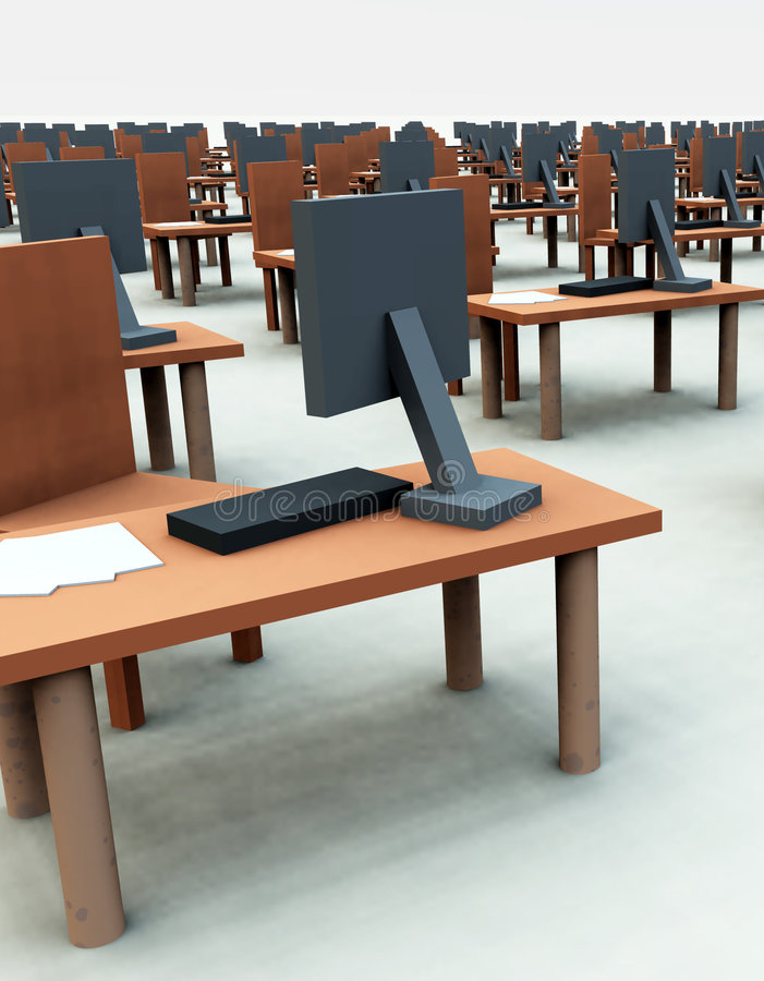 Viele Schreibtische mit Stühlen 4 lizenzfreie abbildung