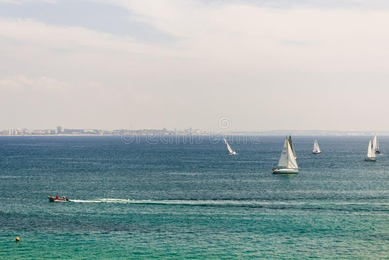 Viele Segelboote, die in den Ozean nahe der Küste von Lagos segeln stockfoto