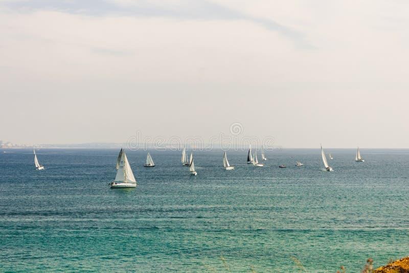 Viele Segelboote, die in den Ozean nahe der Küste von Lagos segeln lizenzfreie stockbilder