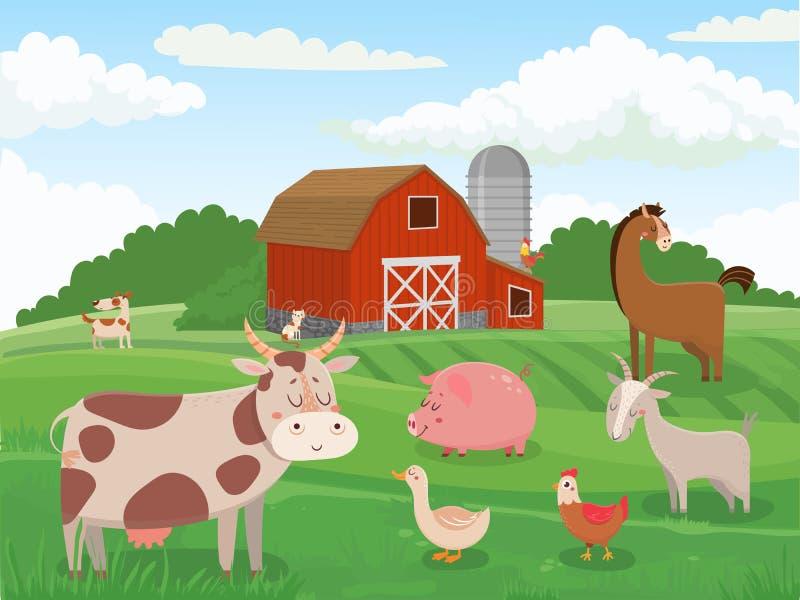 viele sheeeps Farmen der Tiere des Dorfs, rote Scheune der Kühe und Viehweidelandschaftskarikaturvektorillustration vektor abbildung