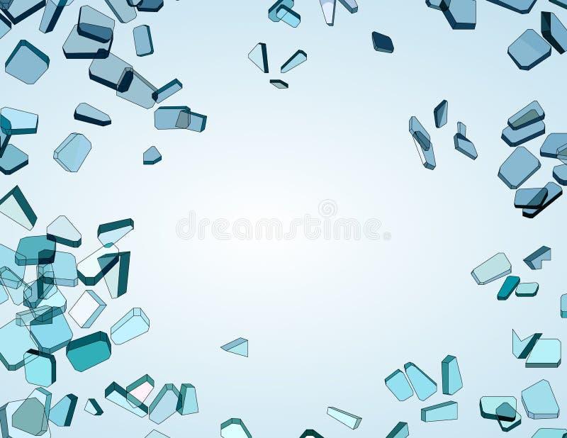 Viele Stücke zerbrochenes blaues Glas stock abbildung