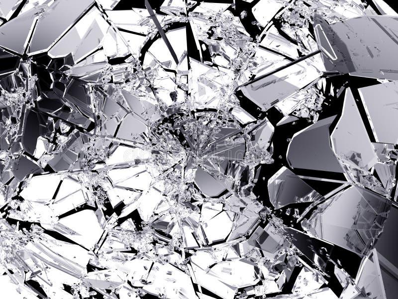 Viele Stücke zerbrochenes Glas lokalisiert stock abbildung