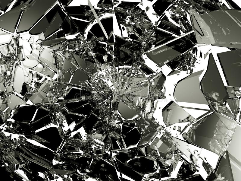 Viele Stücke zerbrochenes Glas lokalisiert vektor abbildung