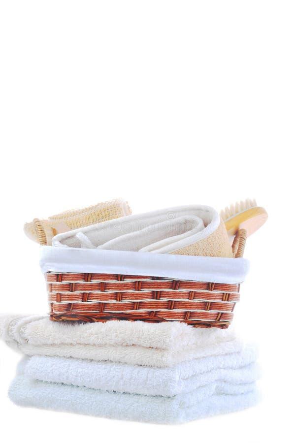 Viele Tücher und Zubehör zum Baden lizenzfreies stockbild