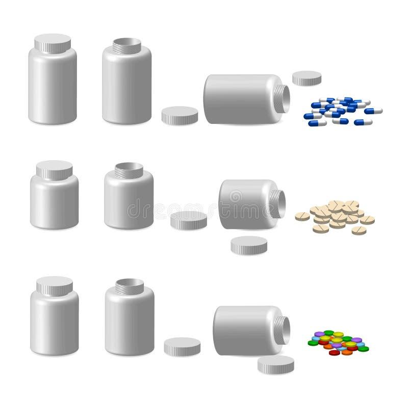 Viele Tabletten und Fall stockfotos