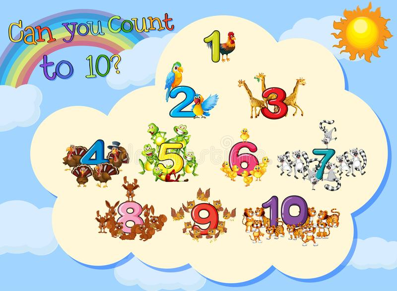 Viele Tiere mit Zahlen bis zehn lizenzfreie abbildung