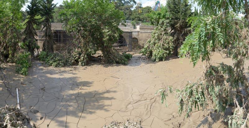 Viele verhärteter Schlamm nach der Überschwemmung des Zoos stockbilder