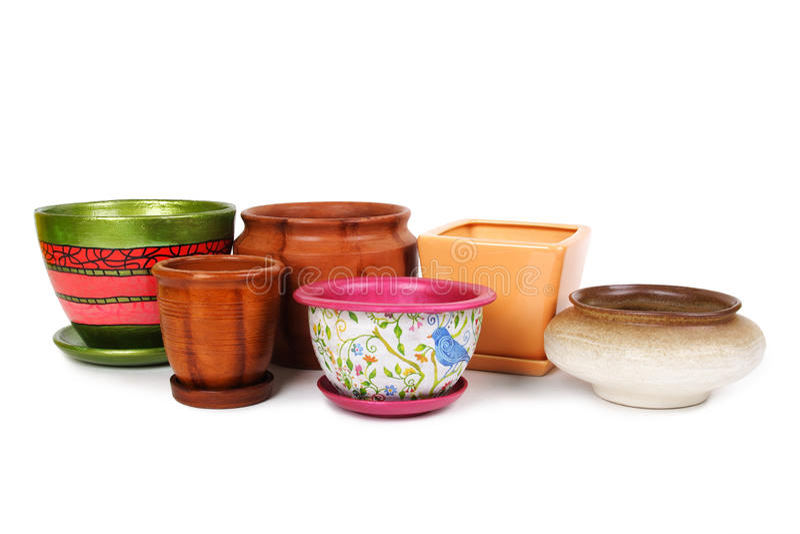 Viele verschiedenen Flowerpots lizenzfreie stockbilder