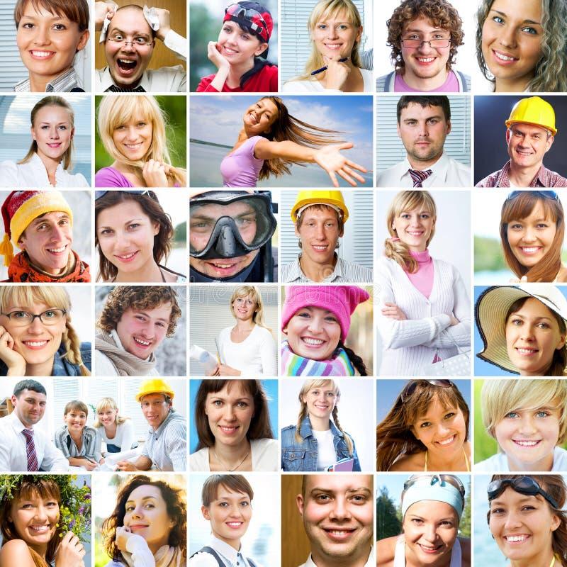 Viele verschiedenen menschlichen Gesichter lizenzfreie stockfotografie