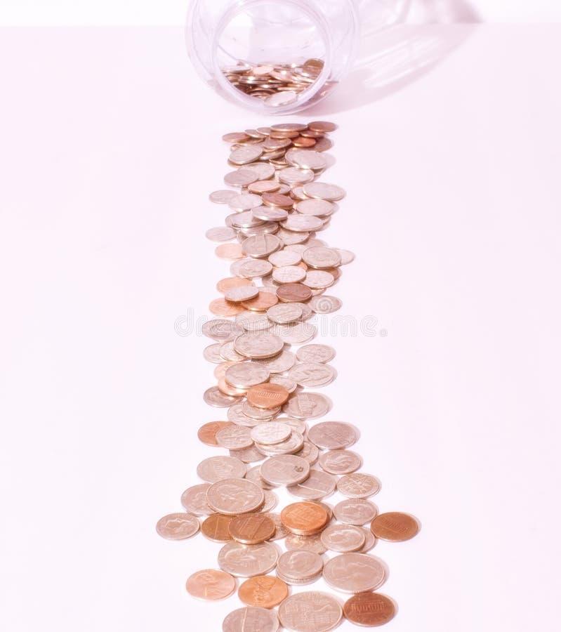 Viele Viertelgroschennickel und -pennies lizenzfreies stockfoto