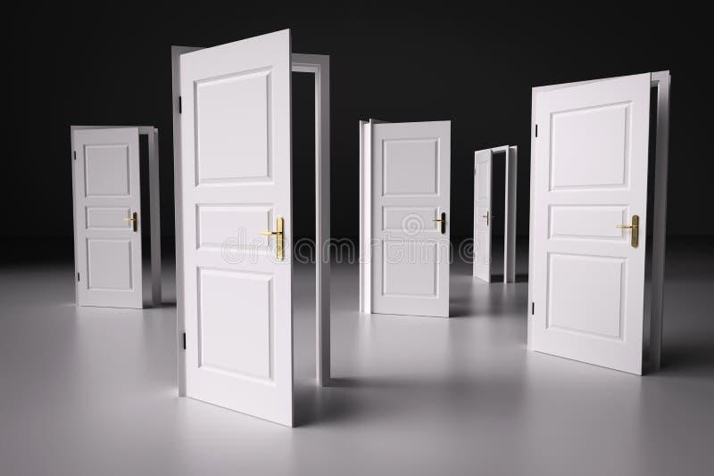 Viele Weisen, von zu wählen, offene Türen Beschlussfassung lizenzfreie stockfotografie