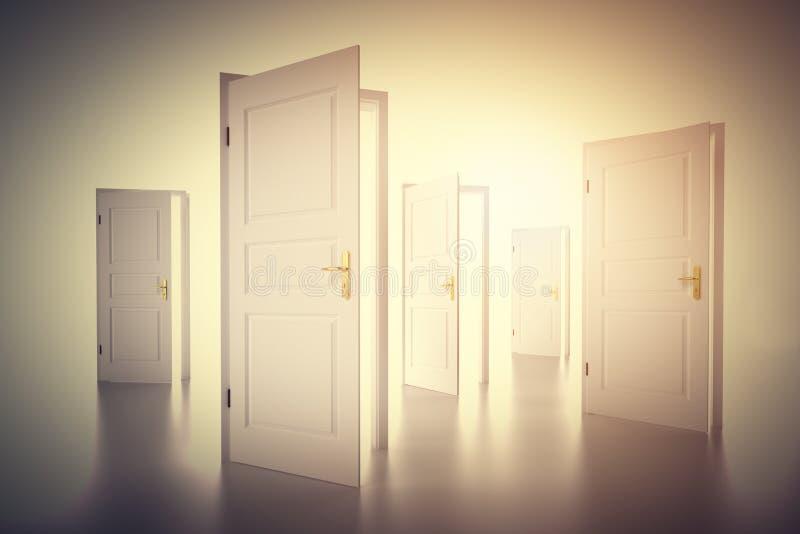 Viele Weisen, von zu wählen, offene Türen Beschlussfassung stockfotografie