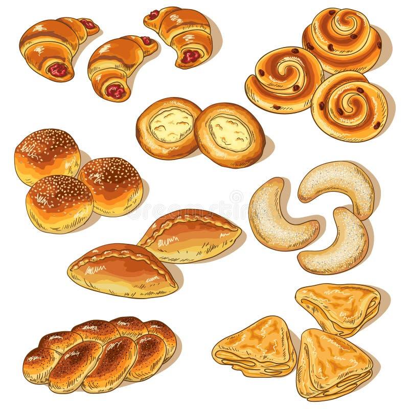 Vielzahl der Bäckerei stock abbildung
