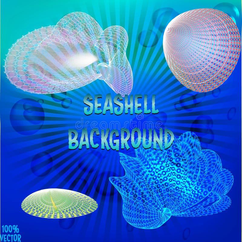 Vielzahl der blauen und bunten Muschel in den verschiedenen Größen vektor abbildung