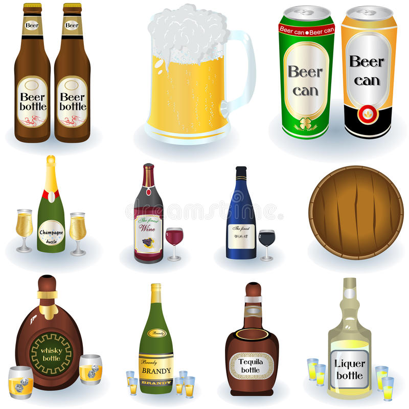 Vielzahl der Getränke vektor abbildung