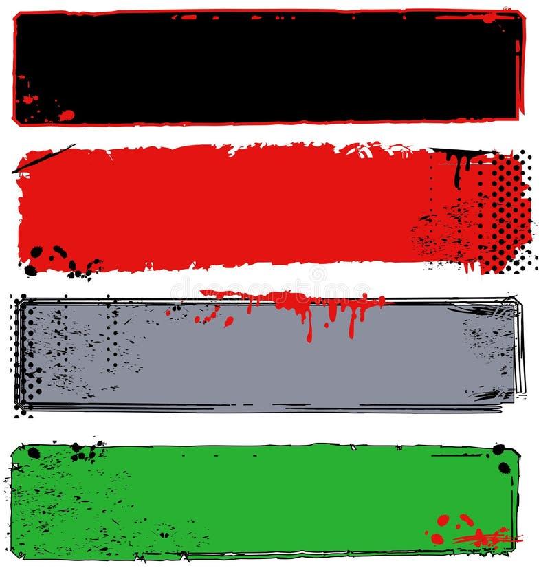 Vielzahl der Grungy Fahnen mit Halbtonbildern lizenzfreie abbildung
