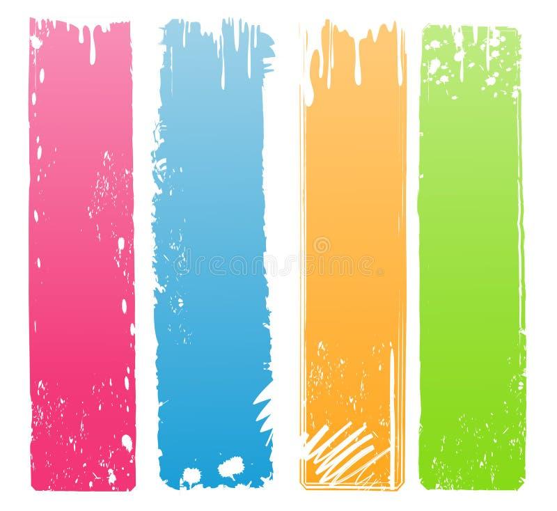 Vielzahl der modernen farbigen Grunge Fahnen stock abbildung