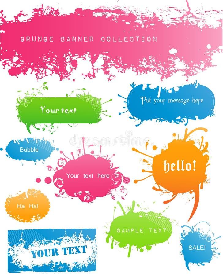 Vielzahl der modernen farbigen Grungy Fahnen vektor abbildung