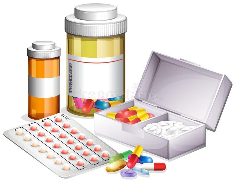 Vielzahl der unterschiedlichen Medizin lizenzfreie abbildung