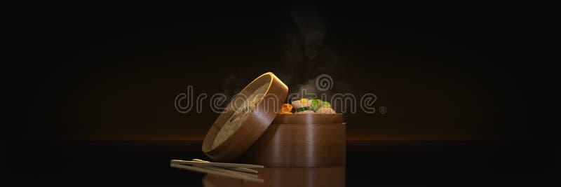 Vielzahl des dim sum in den Bambusdampfbehältern Wiedergabe 3d lizenzfreie abbildung