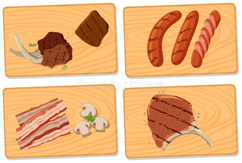 Vielzahl des Fleisches auf hackenden Brettern stock abbildung