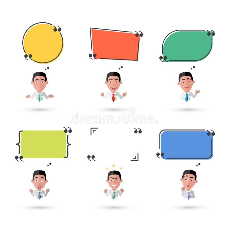 Vielzahl des Gefühl-Mannes mit Sprache-Blase stock abbildung