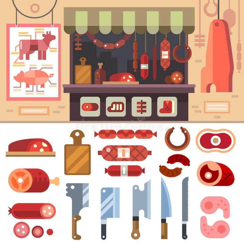 Vielzahl des Lebensmittels in Metzgerei stock abbildung