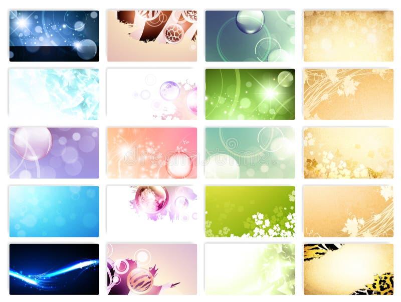 Vielzahl von 20 horizontalen Visitenkarteschablonen lizenzfreie abbildung