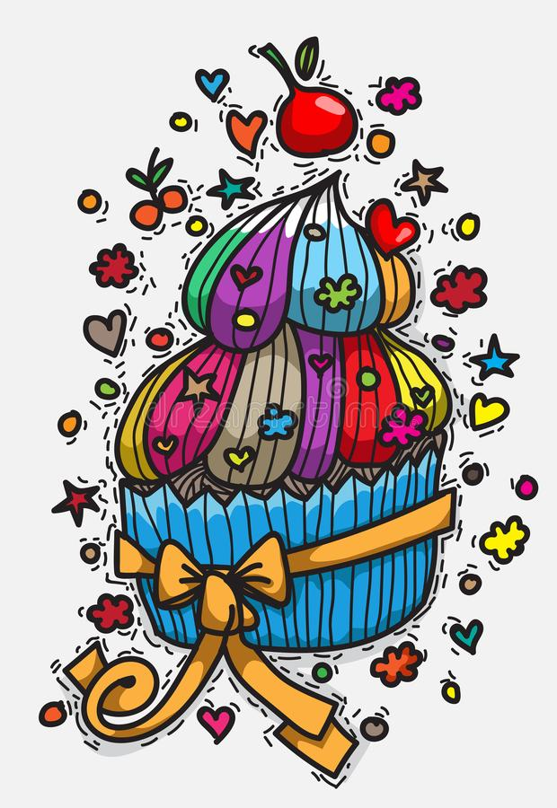 Vielzahl von buntem kleine Kuchen stock abbildung