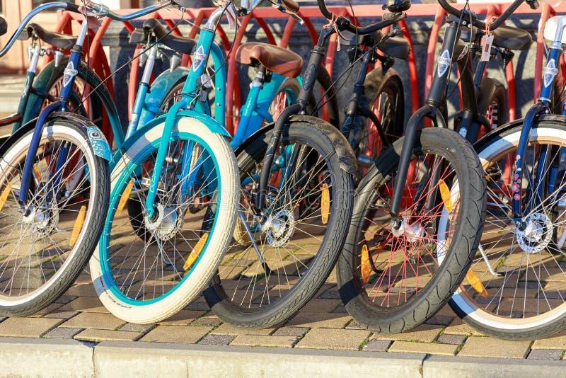 Vielzahl von den Fahrrädern, die für Miete angeboten werden, ist im Parkplatz Ansicht über die Räder von Fahrrädern in der Reihe lizenzfreie stockfotografie