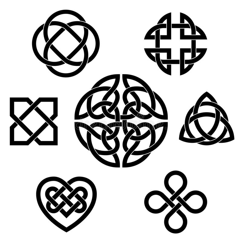 Vielzahl von keltischen Knoten lizenzfreie abbildung