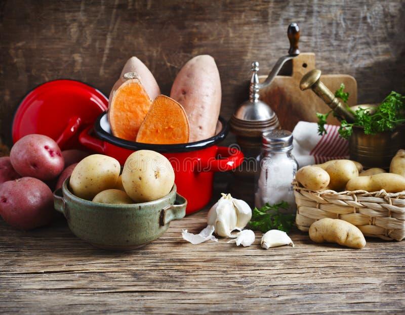 Vielzahl von rohen ungekochten organischen Kartoffeln: Rote, weiße, Bonbon- und Fingerkartoffeln lizenzfreies stockfoto