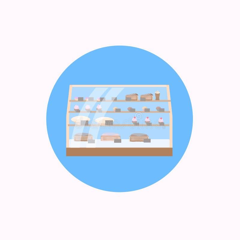 Vielzahlgebäck in den Bäckereisüßspeisen kauft Fensterikone flach lizenzfreie abbildung
