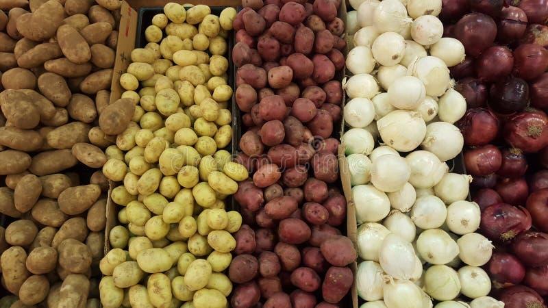 Vielzahlkartoffeln und Zwiebeln von verschiedenen Spezies und von Farben stockfotografie