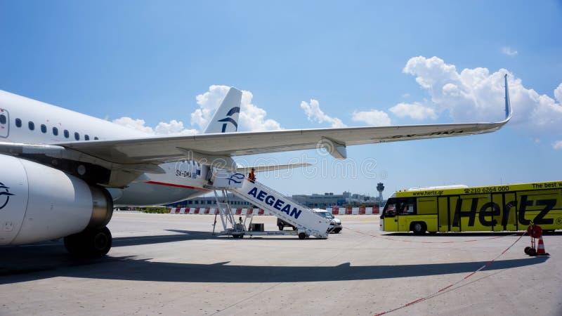 VIENA, ÁUSTRIA 07 11 2018: Plano de ar de Aegan após a aterrissagem imagem de stock royalty free