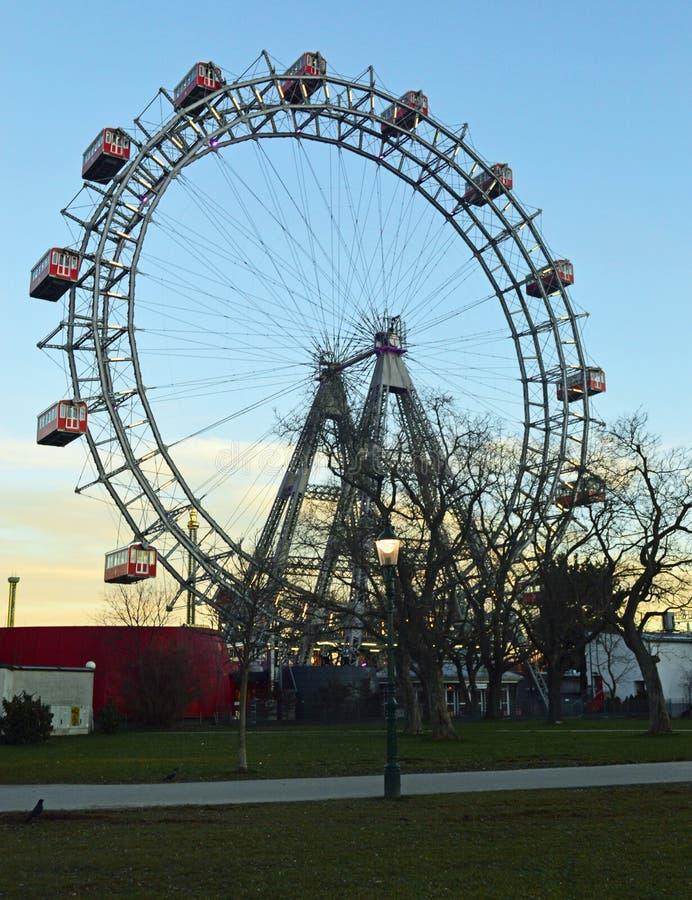 Viena Áustria, roda grande de Riesenrad da salsicha imagens de stock
