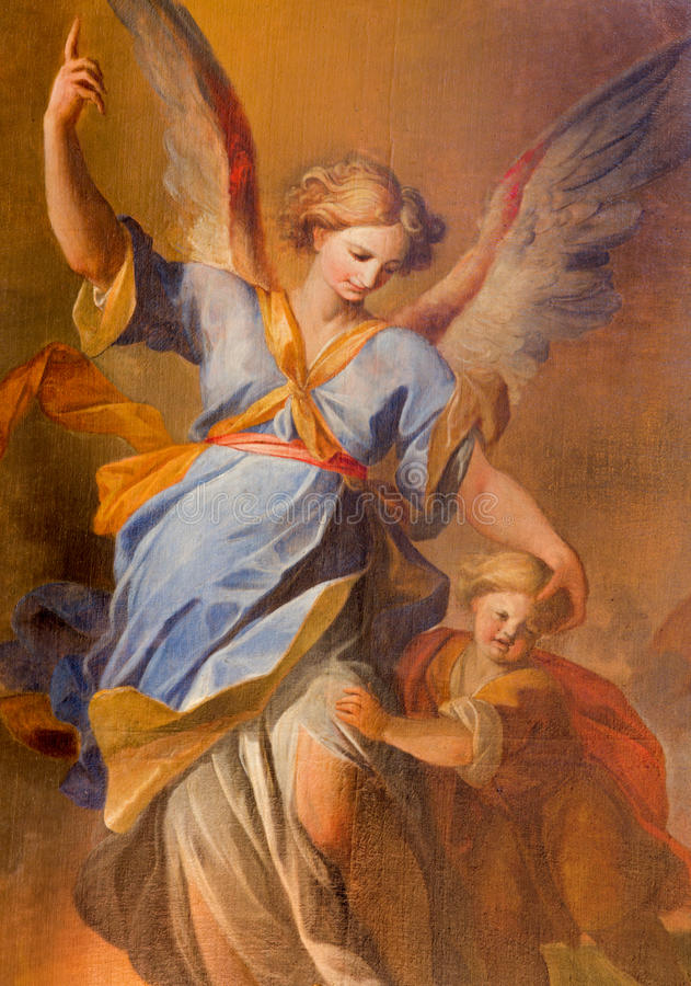 Viena - anjo da guarda com a pintura da criança do altar lateral na igreja barroco dos jesuítas imagem de stock