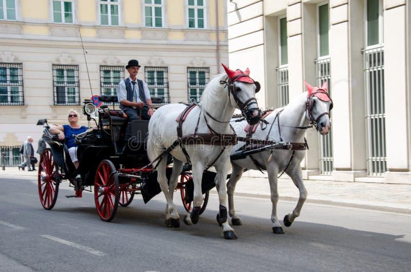 Viena, Austria - 15 de julio de 2013: El carro traído por caballo con los turistas monta abajo en la calle fotografía de archivo