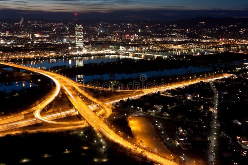 Viena en la noche fotografía de archivo libre de regalías