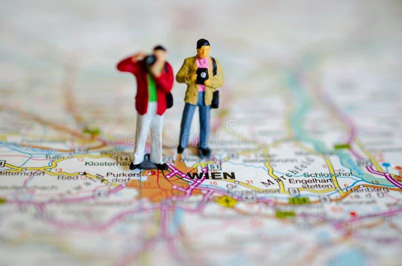 Viena en mapa foto de archivo