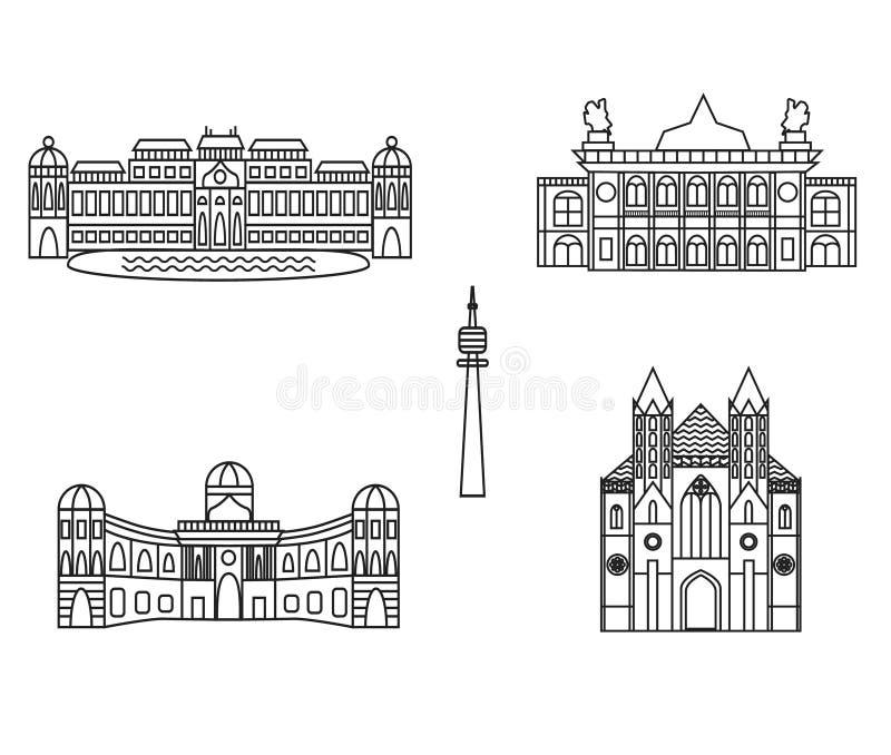 Viena ennegrece el icono del vector de los edificios del horizonte de la ciudad de la silueta ilustración del vector