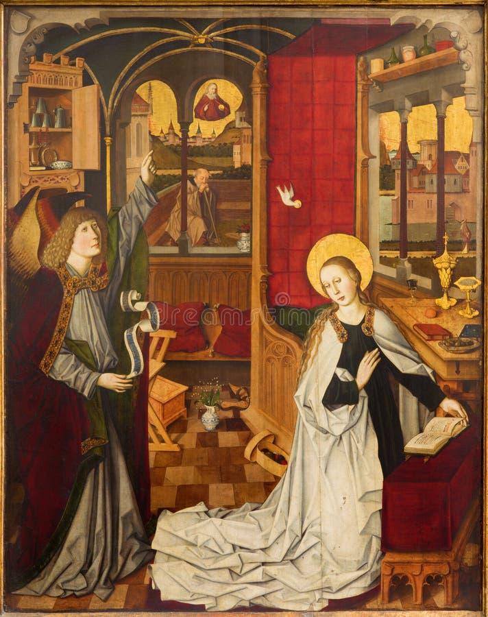 Viena - escena del anuncio en el cubo de las fechas de la iglesia a partir de cerca de 1360 foto de archivo libre de regalías