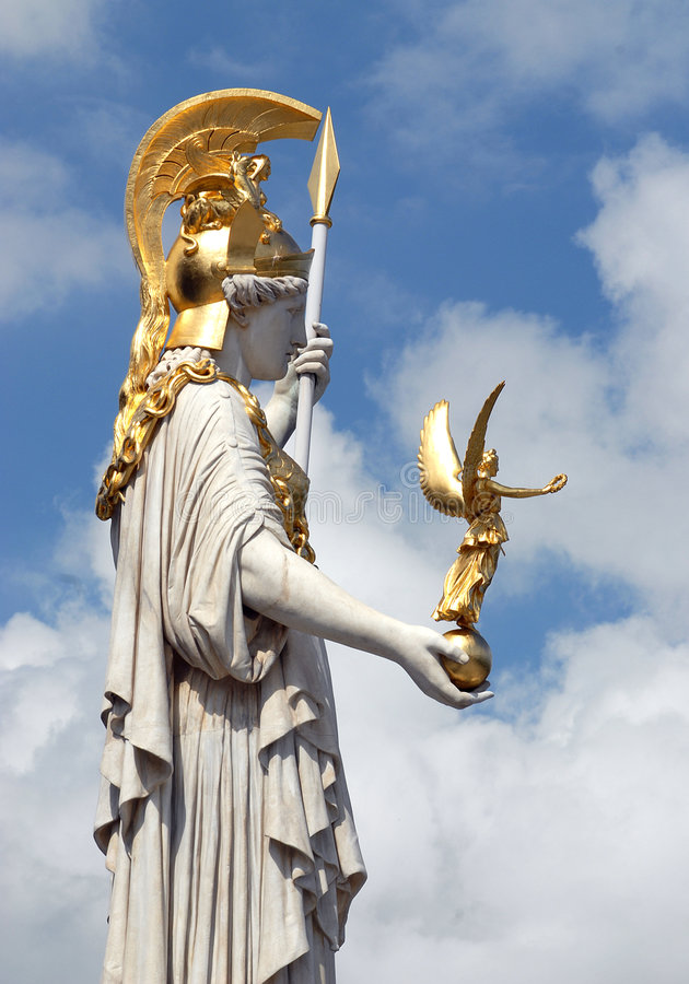 Viena - estátua do Athene de Pallas foto de stock