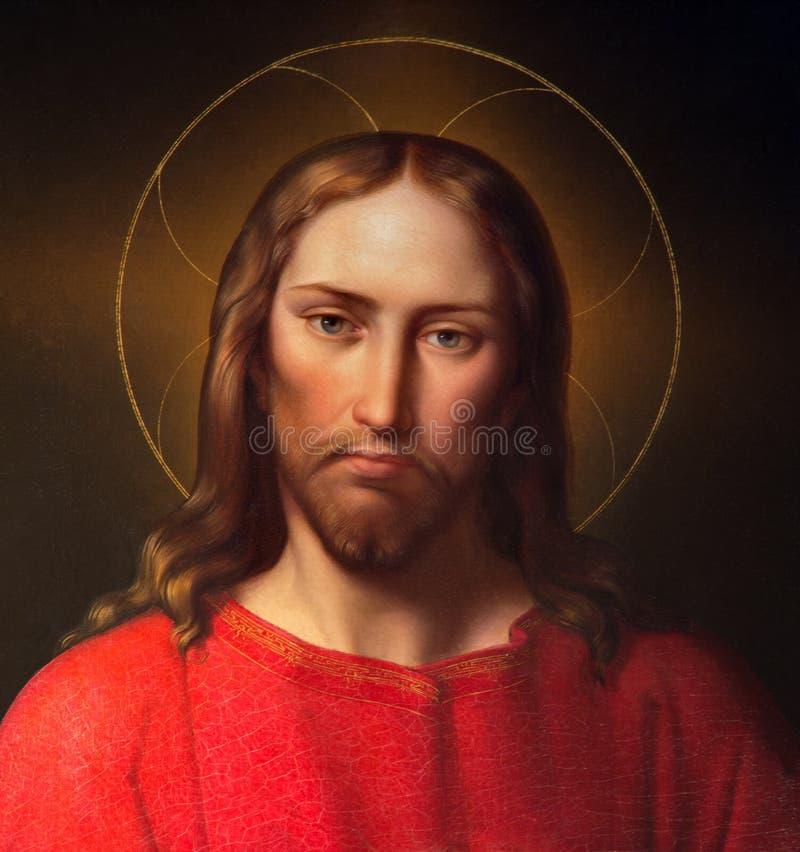 Viena - Jesus Christ por Leopold Kupelwieser. do centavo 19. no altar lateral da igreja barroco de St Peter fotografia de stock royalty free